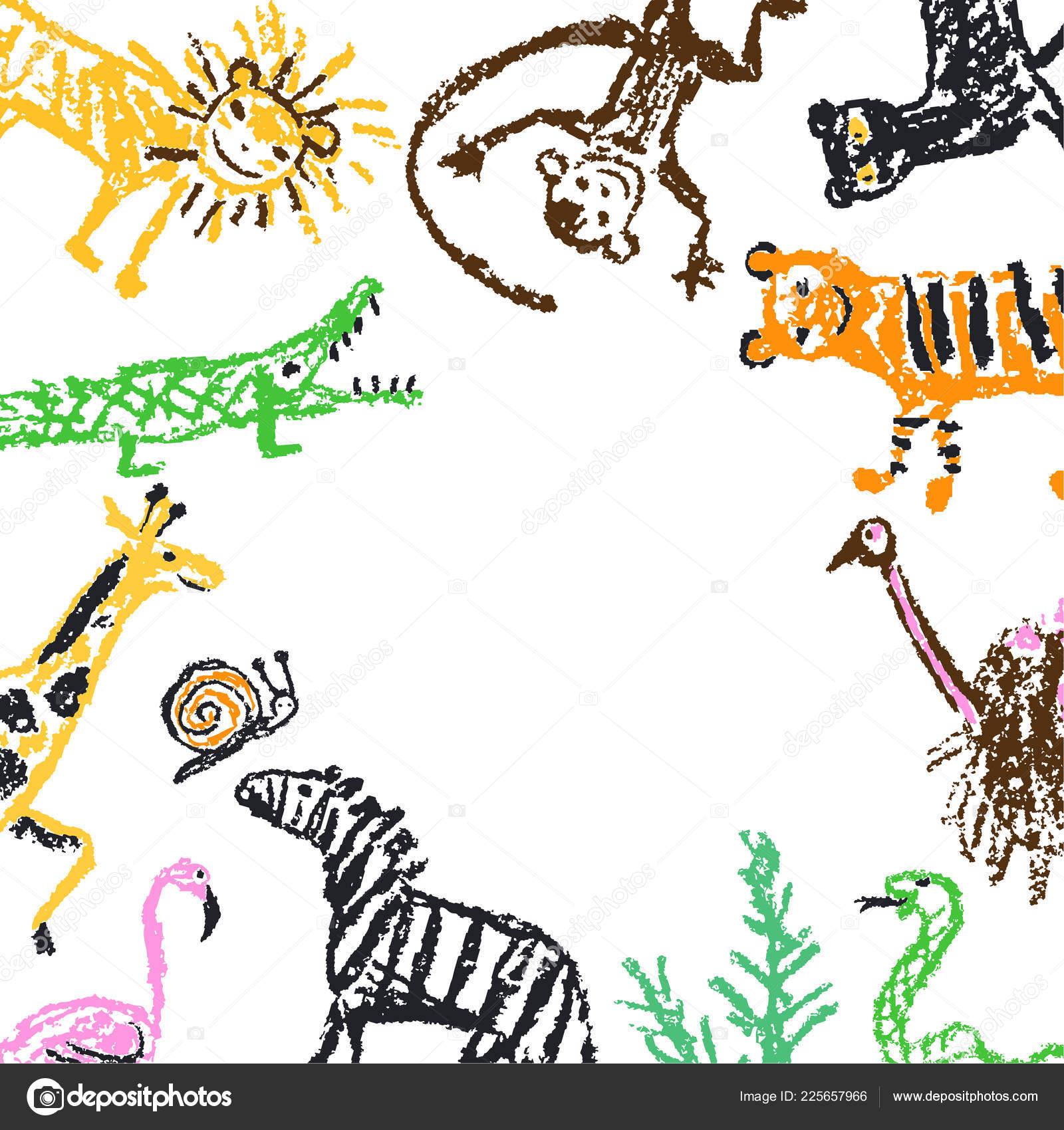 4c8051b333a62 Wild Animal Flat Lay Free Copy Space Frame Crayon Kids — Stock ...