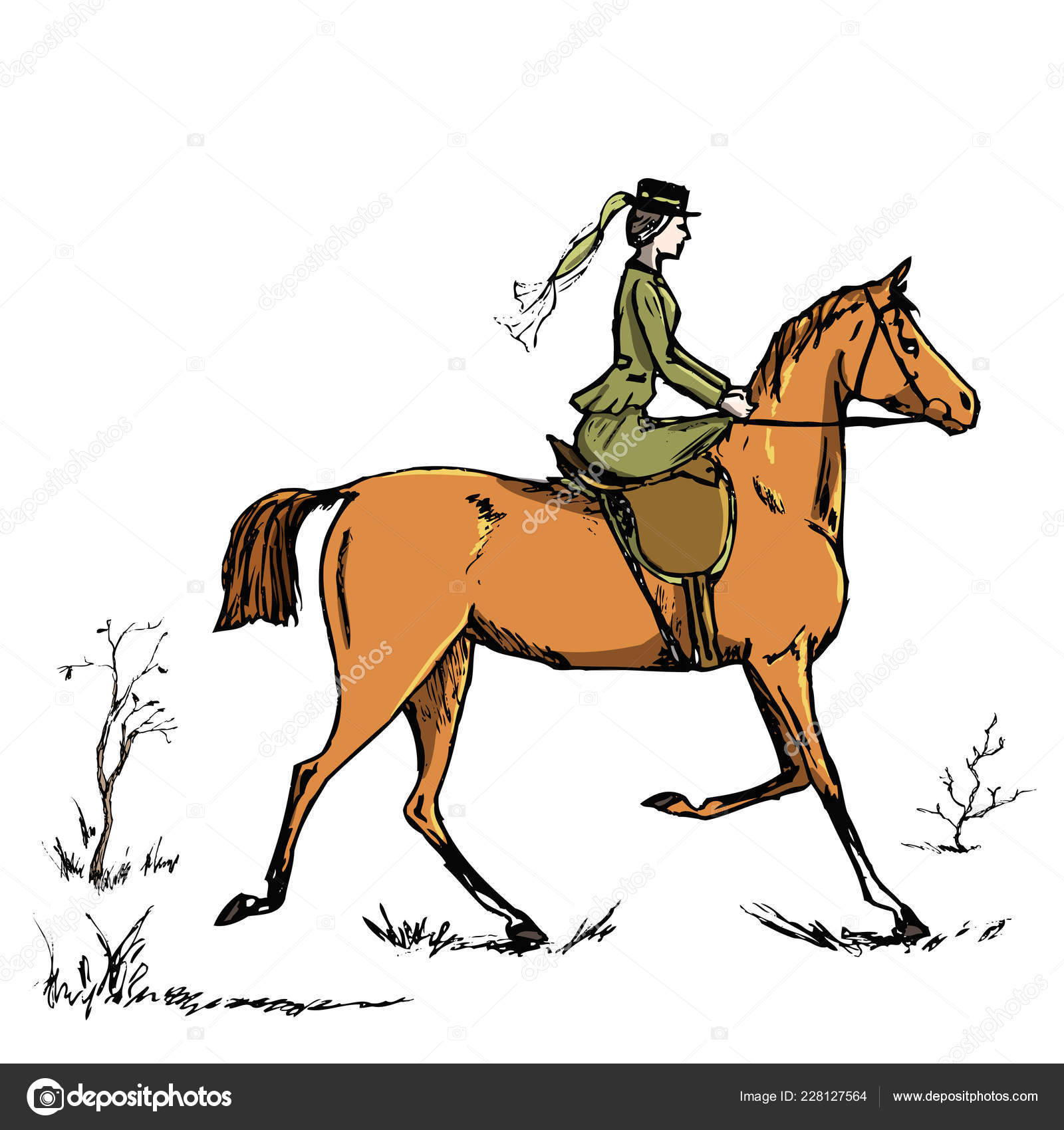 Horsewoman Horse Rider English Style Historic Horseback Lady Riding Habit Stock Vector C Larisa Zorina 228127564