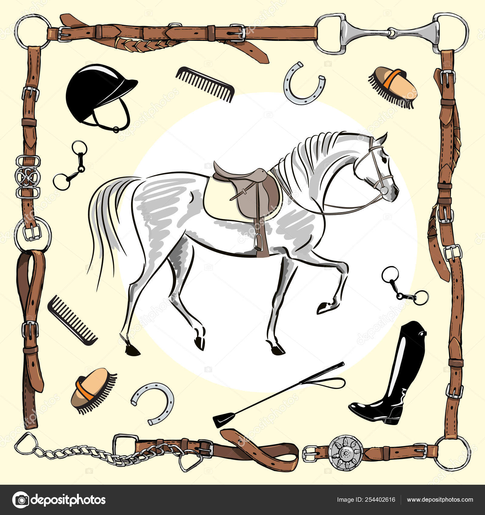 Horse Equestrian Riding Gear Tack Tool Leather Belt Bridle Frame Stock Vector C Larisa Zorina 254402616