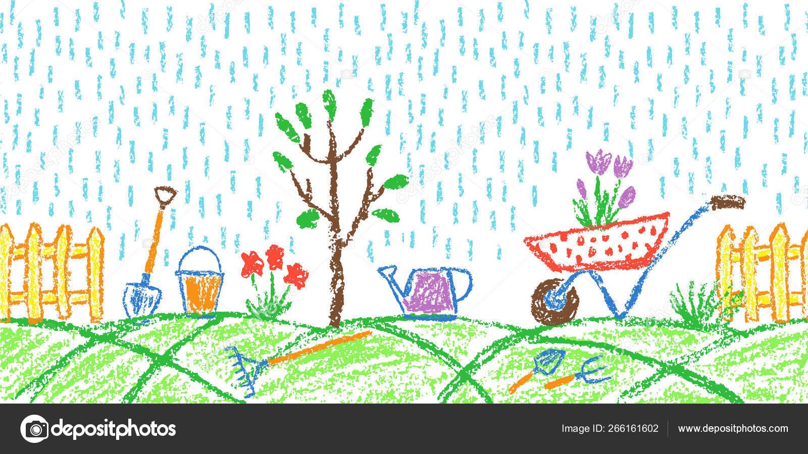 Rain Garden Seamless Summer Border Background Gardening
