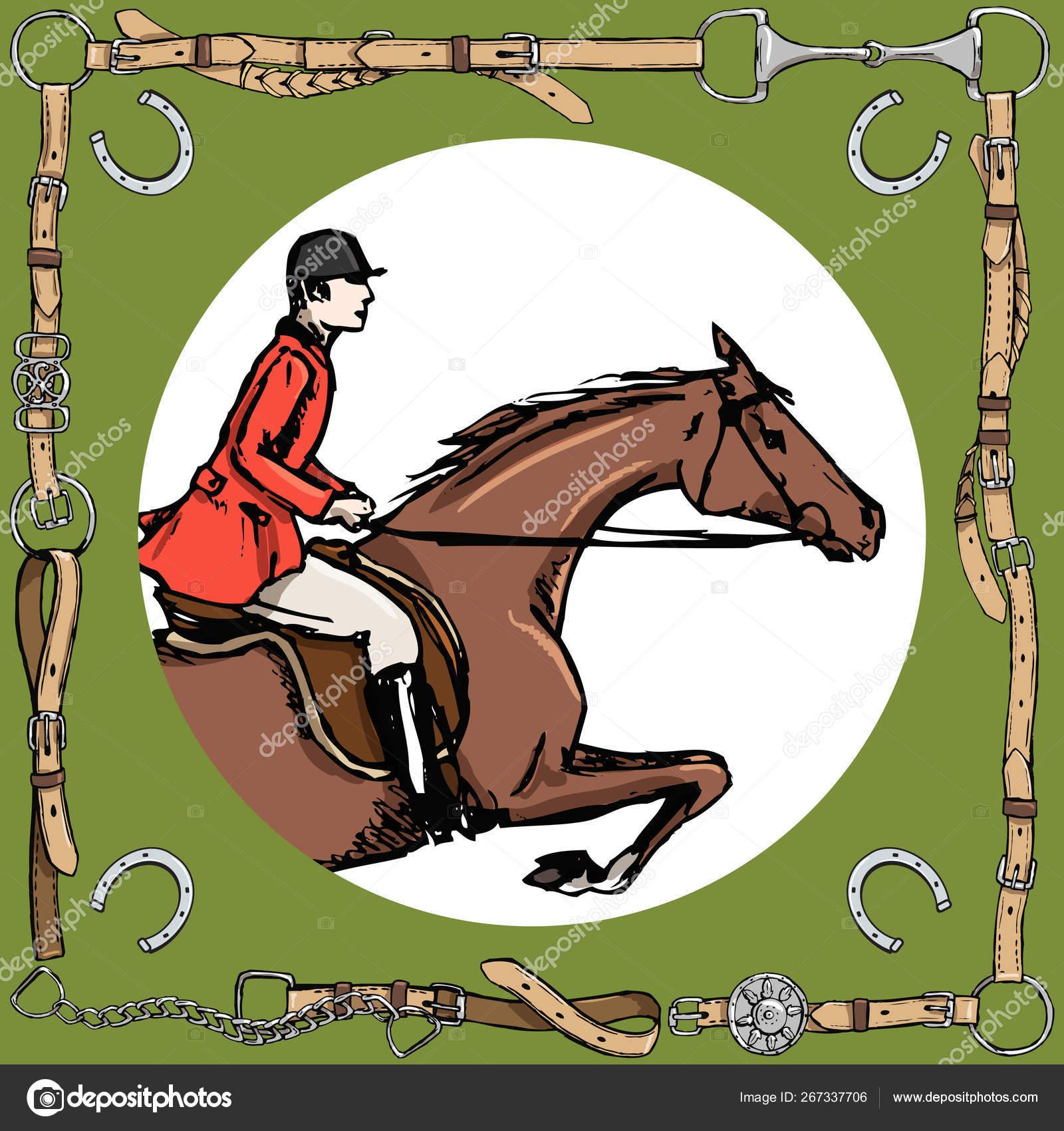 Equestrian Sport Horse Rider Leather Belt Frame Bit Horseshoe Horseman Stock Vector C Larisa Zorina 267337706