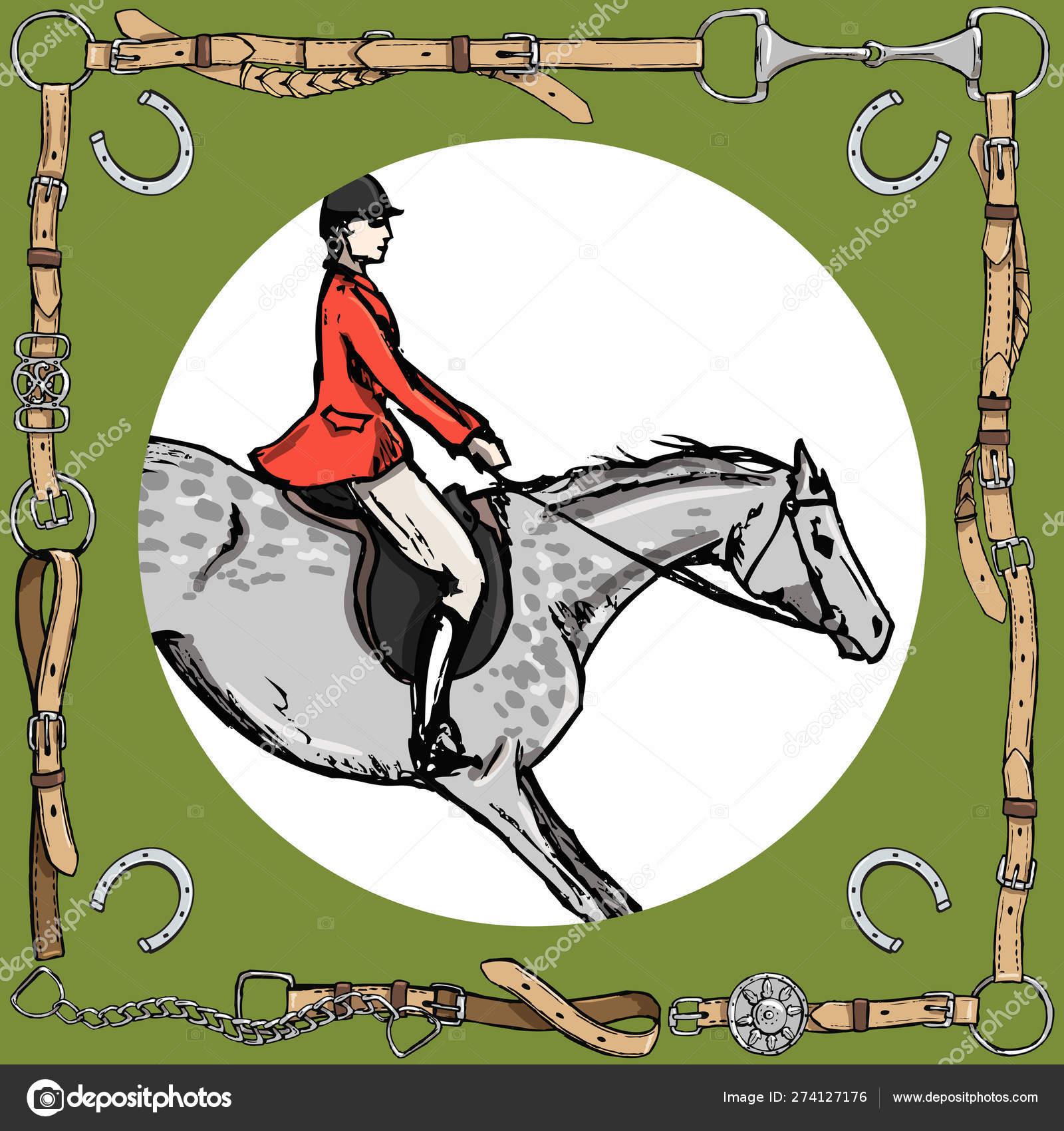 Dapple Grey Horse Rider Leather Belt Frame Bit Horseshoe Equestrian Stock Vector C Larisa Zorina 274127176