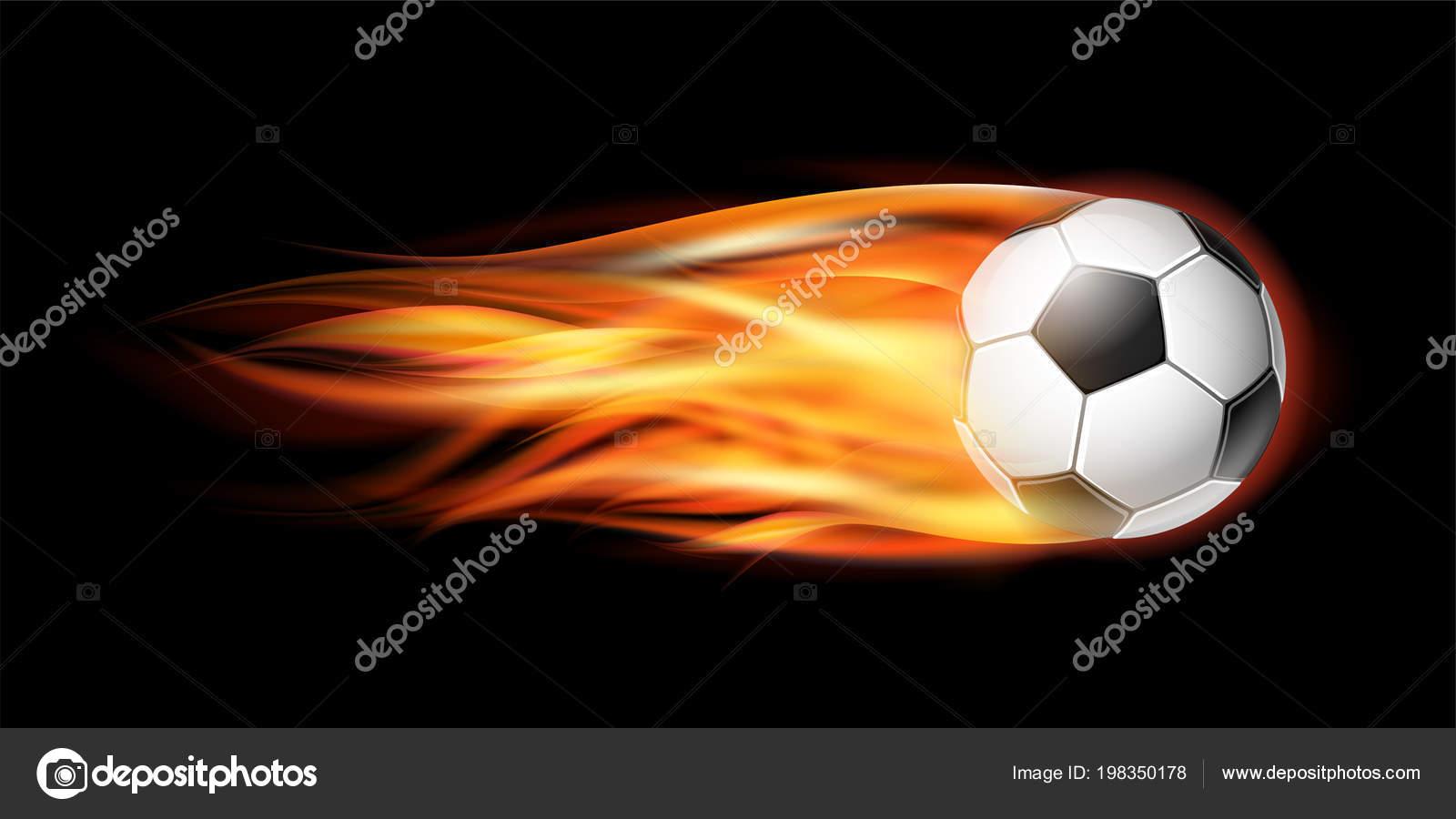 b5dc13114fbe7 Vuelo del balompié en el fuego. Balón de fútbol con pista de llama  brillante sobre el fondo negro — Vector de ...