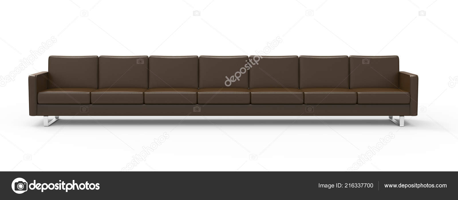 Astounding Extremely Long Brown Leather Sofa Isolated White Background Pdpeps Interior Chair Design Pdpepsorg
