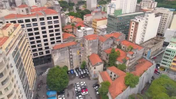 SAO PAULO, BRAZIL - MAY 3, 2018: Aerial View city of the centre Ground Zero square. Landmark touristic place. Drone shot in 4K