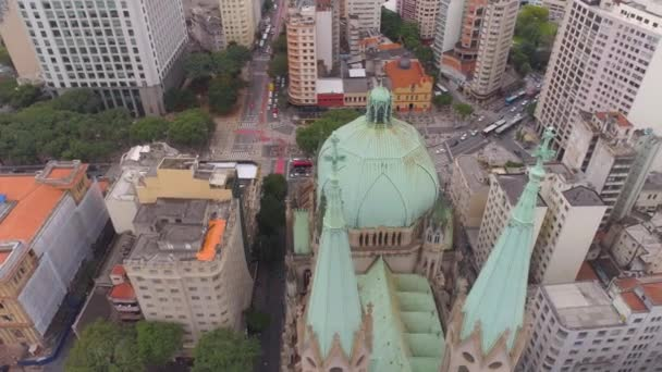 SAO PAULO, BRAZIL - MAY 3, 2018: Aerial View of Se Cathedral in the city centre. Drone shot in 4K