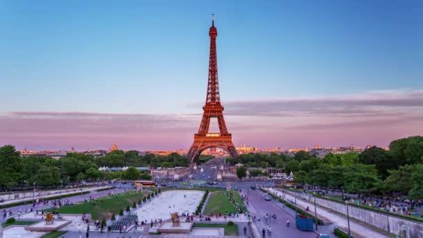 PARIS, FRANCE - JUNE 19, 2018: Eiffel Tower evening sunset timelapse. Fast movement 4K shot