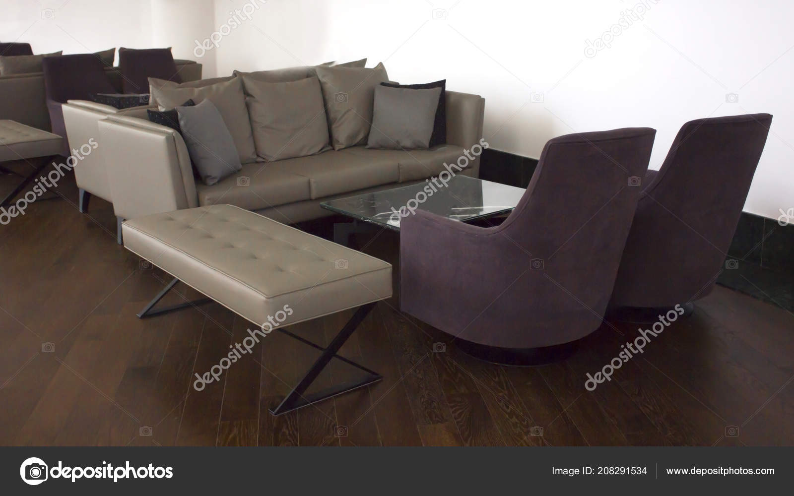 Business Interior Brown Parquet Beige Leather Sofas Cushions ...