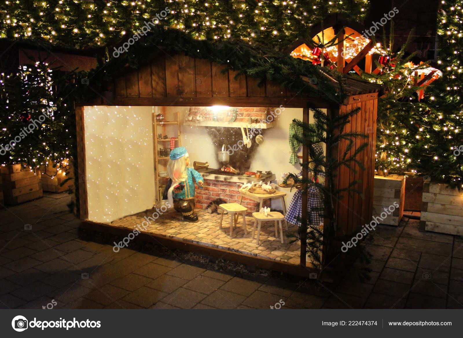Mulled Wine Christmas Market.Illuminated Christmas Market Fair Kiosk Sale Mulled Wine