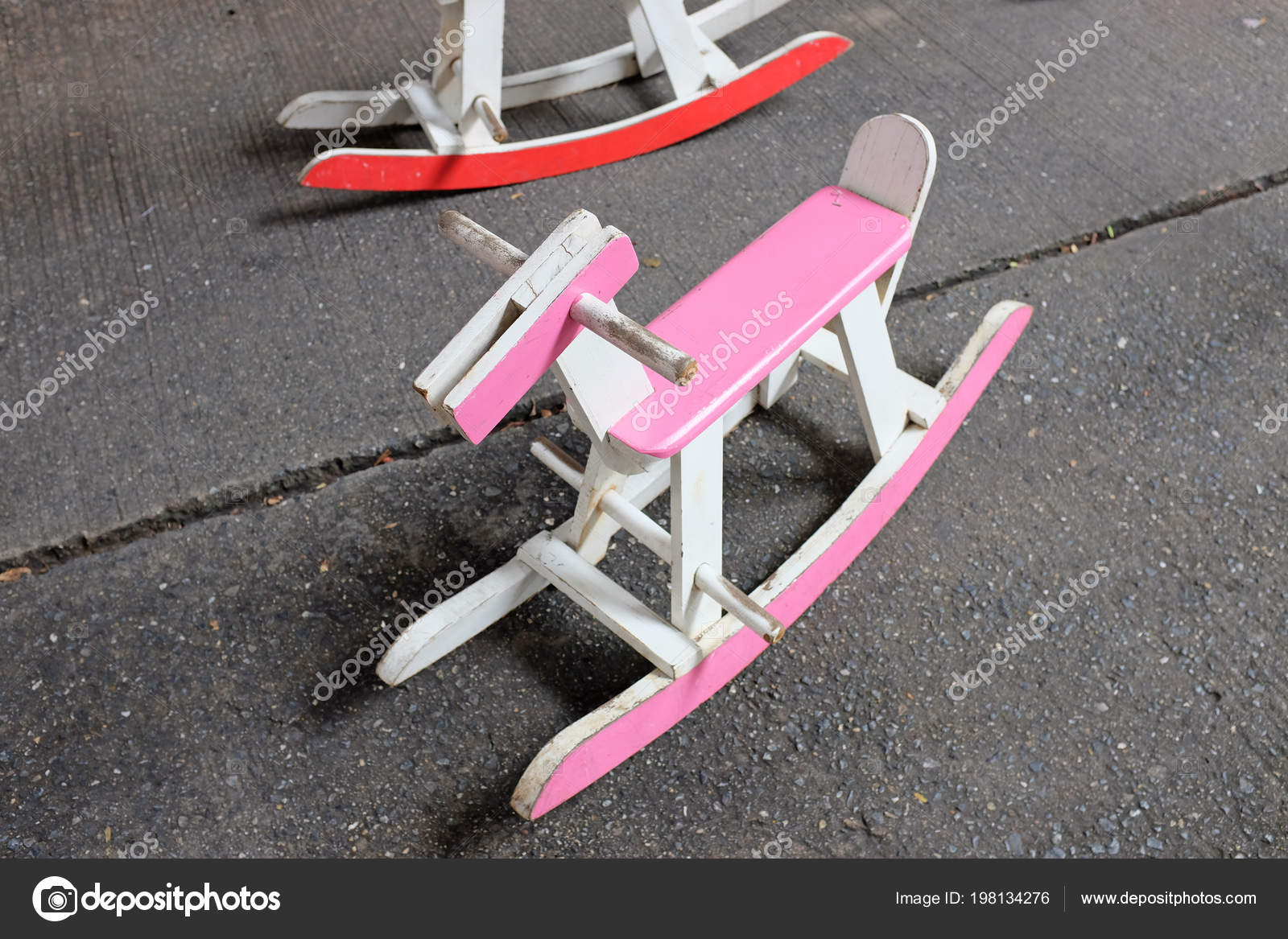 A Vintage Pink Wooden Horse Rocking Chair Toy. U2014 Photo By  Civic_dm@hotmail.com