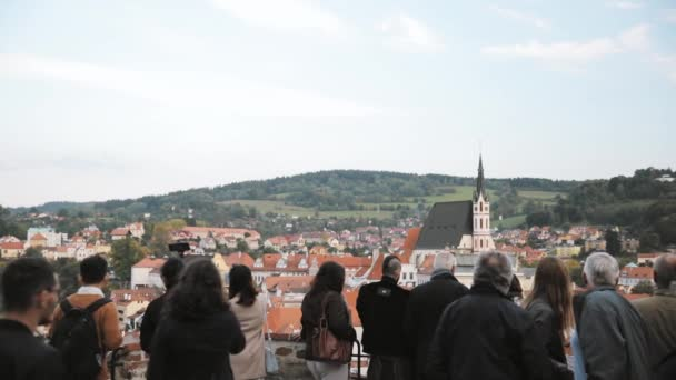 Cesky Krumlov, Czech Republic - September 25, 2017: People Tourists Sightseeing City From Observation Platform. Cityscape In Sunny Autumn Day