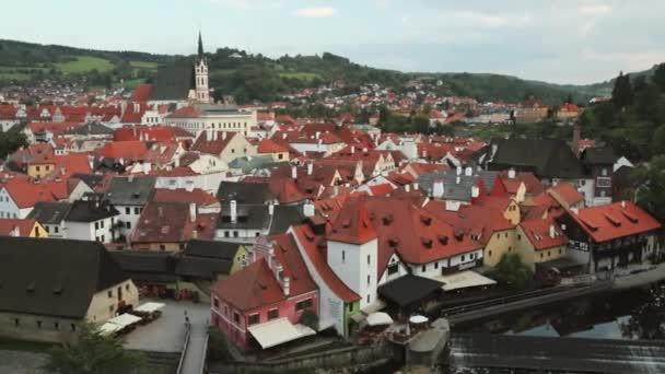 Cesky Krumlov, Czech Republic. St. Vitus Church And Cityscape In Sunny Autumn Day. UNESCO World Heritage Site