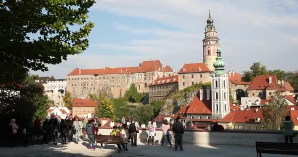 Cesky Krumlov, Czech Republic - September 26, 2017: People Tourists Sightseeing City From Observation Platform. Cityscape In Sunny Autumn Day