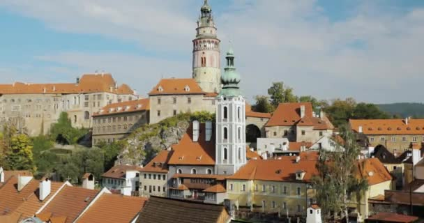 Cesky Krumlov, Czech Republic. Castle, Tower And Cityscape In Sunny Autumn Day. UNESCO World Heritage Site