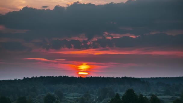Sunrise Over Forest Landscape. Scenic View Of Morning Sky With Rising Sun Above Forest. Early Summer Nature Of Europe. Time Lapse, Timelapse, Time-lapse