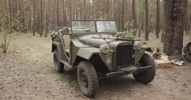 Russian Soviet World War II Four-wheel Drive Army Truck Gaz-67 Car In  Forest  WWII Equipment Of Red Army