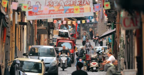 Naples, Italy - October 17, 2018: Traffic With Scooters In Narrow Busy Street. People Riding On Scooters In Summer Day