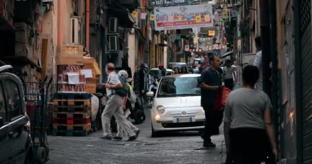 Naples, Italy - October 17, 2018: Traffic With Cars Scooters In Narrow Busy Street. People Riding On Scooters In Summer Day