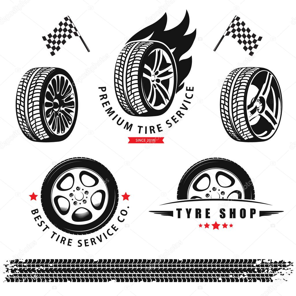 Vector Set Of Wheels Tires And Tracks For Use In Icons And Logos Premium Vector In Adobe Illustrator Ai Ai Format Encapsulated Postscript Eps Eps Format