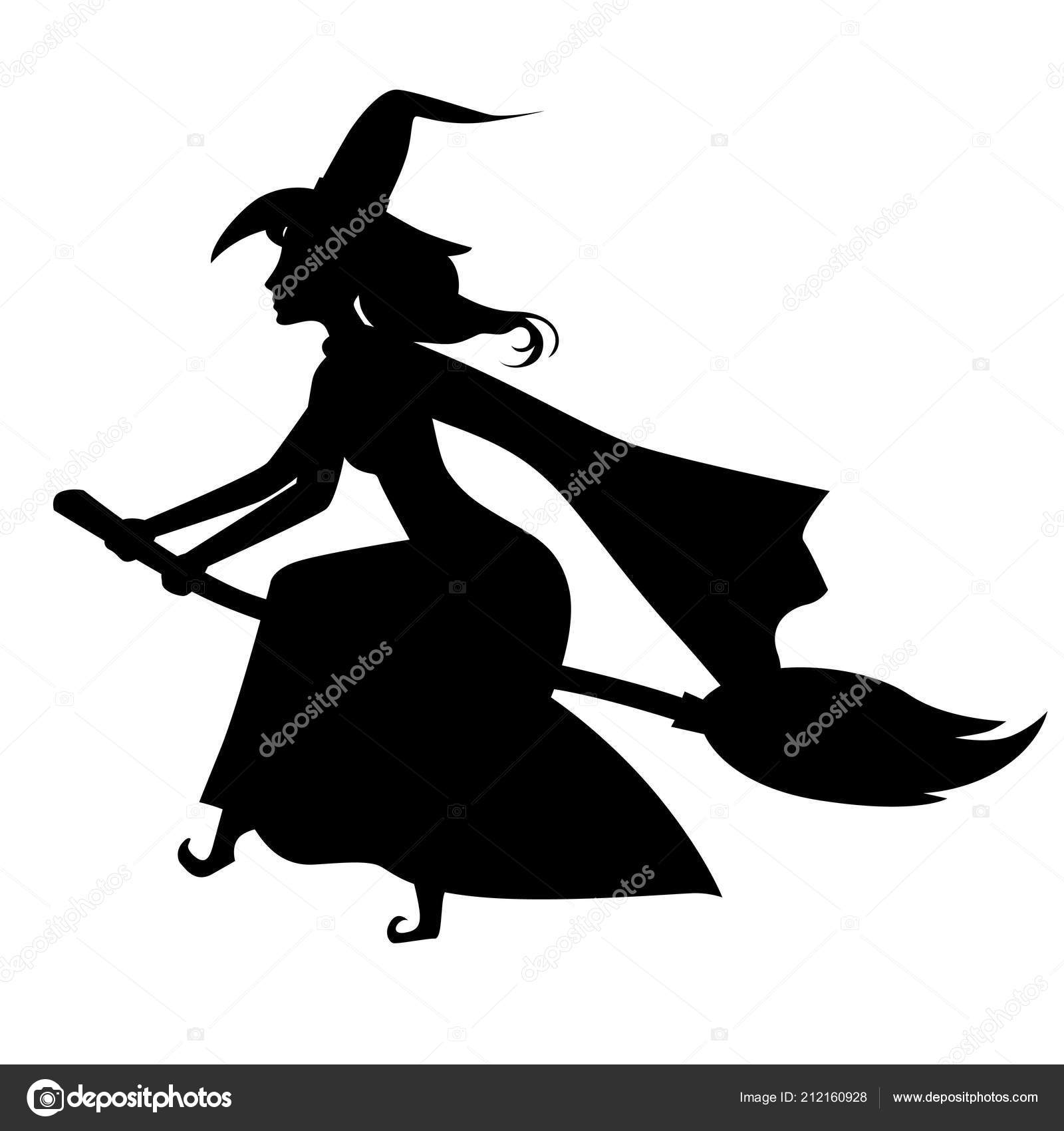 halloween witch silhouette on broom stock vector agrino 212160928