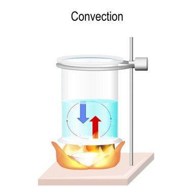 Convection is the heat transfer within fluids. Advection, and diffusion. process of moving hot water and cold when heated. Transmission of energy in liquids. Vector illustration for science,  and educational use stock vector