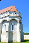 Tipikus vidéki táj és paraszti házak Cloaterf (Klosderf, Klosdorf, Nickelsdorf) községben, Erdély, Románia. A települést a Szász telepesek alapították a 12-edik század közepére.
