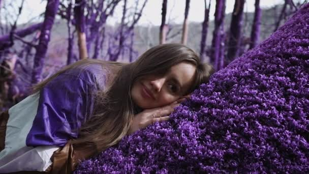 Violet fairytale forest. Beautiful girl in a lilac jacket is sleeping on a soft purple moss in the middle of an enchanted forest. Fantasy, unreal, fairytale atmosphere