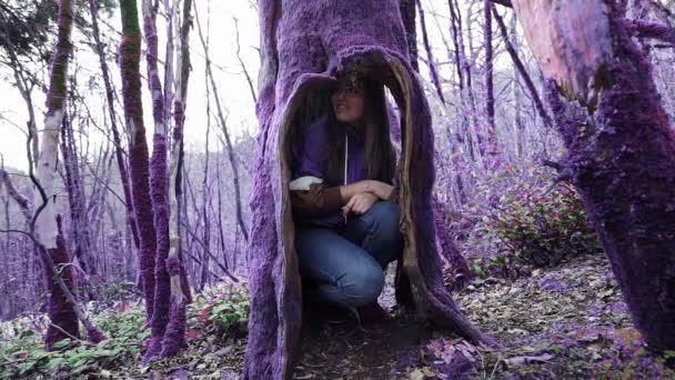 Lila mesebeli erdő. Vicces lány elrejti egy üreges a régi fa, és tart a kamat-és néz ki belőle. Fantázia, irreális, mesebeli hangulat. Elvarázsolt lila erdő