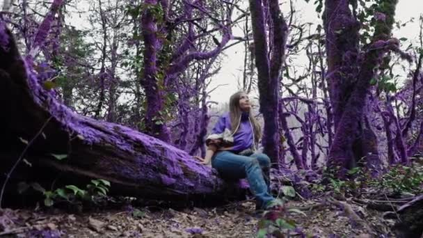 Violet fairytale forest. Happy girl in the casual style is sitting on the moss-covered purple tree and looks up in a boxwood forest. Fantasy, unreal, fairytale atmosphere