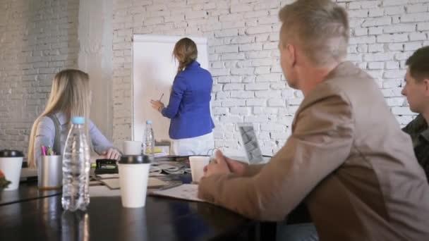 Vůdce žena dává prezentace. Ženské manager představuje nový plán projektu kolegy na obchodní jednání. Podnikatelka vysvětlovat nápady na tabuli kolegy v kanceláři