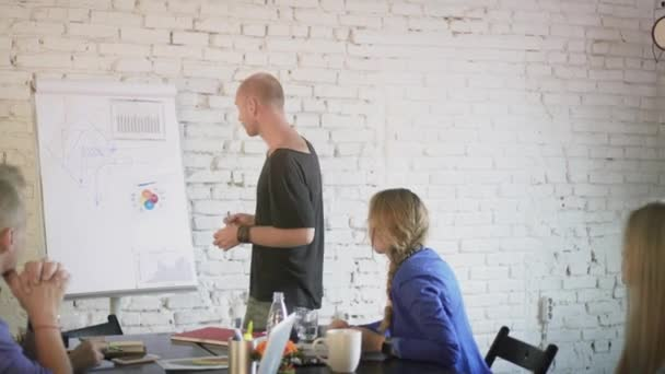 Business team discussing new startup ideas on the business meeting. Coworkers in the office communicate and planning