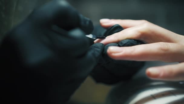 Donna sta avendo le unghie dipinte nel salone di bellezza con smalto per unghie gel professionale chiuda. Donna in un salone di bellezza che riceve una manicure da unestetista