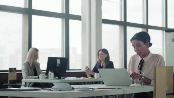 Žena multietnický manažer pracující v kanceláři s notebookem. Mladý obchodní tým pracuje v kanceláři u počítačů. Životní styl kanceláře