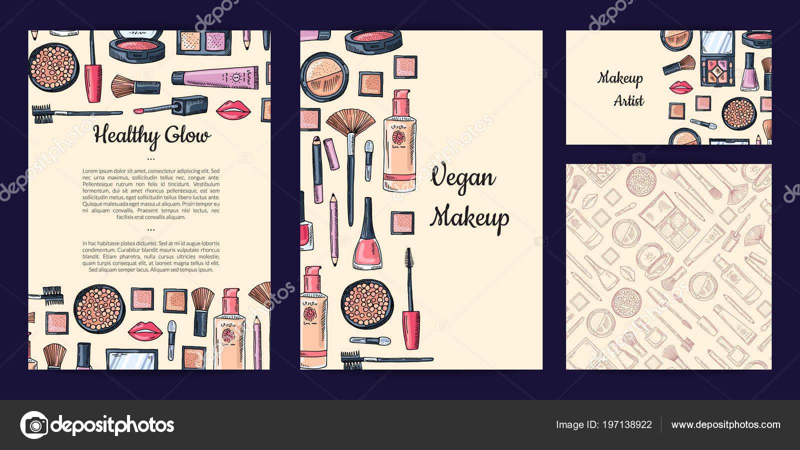 Vektor Schönheit Oder Make Up Marke Set Mit Flyer Oder Karte