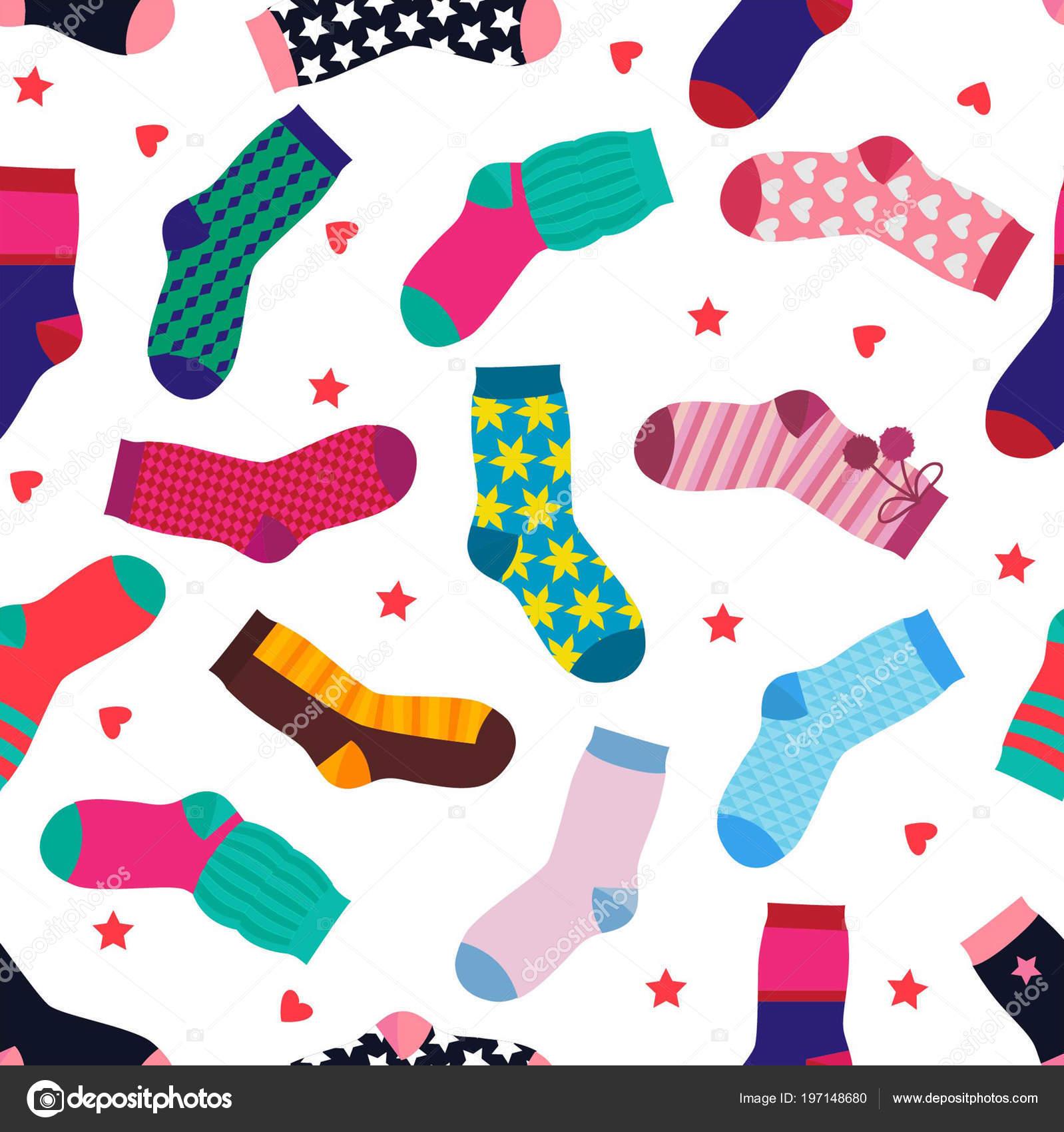 Patrones sin fisuras de vector con diferentes calcetines divertidos ...