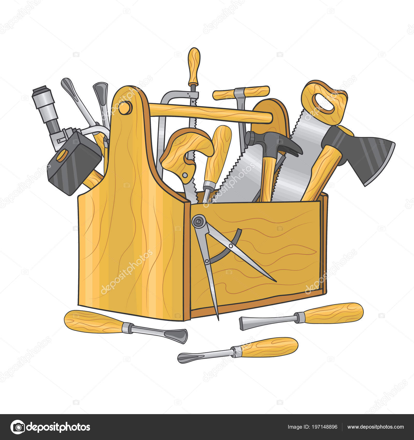 Scatola In Legno Per Attrezzi Di Falegnameria. Illustrazione Di Vettore  Disegnato A Mano U2014 Vettoriale