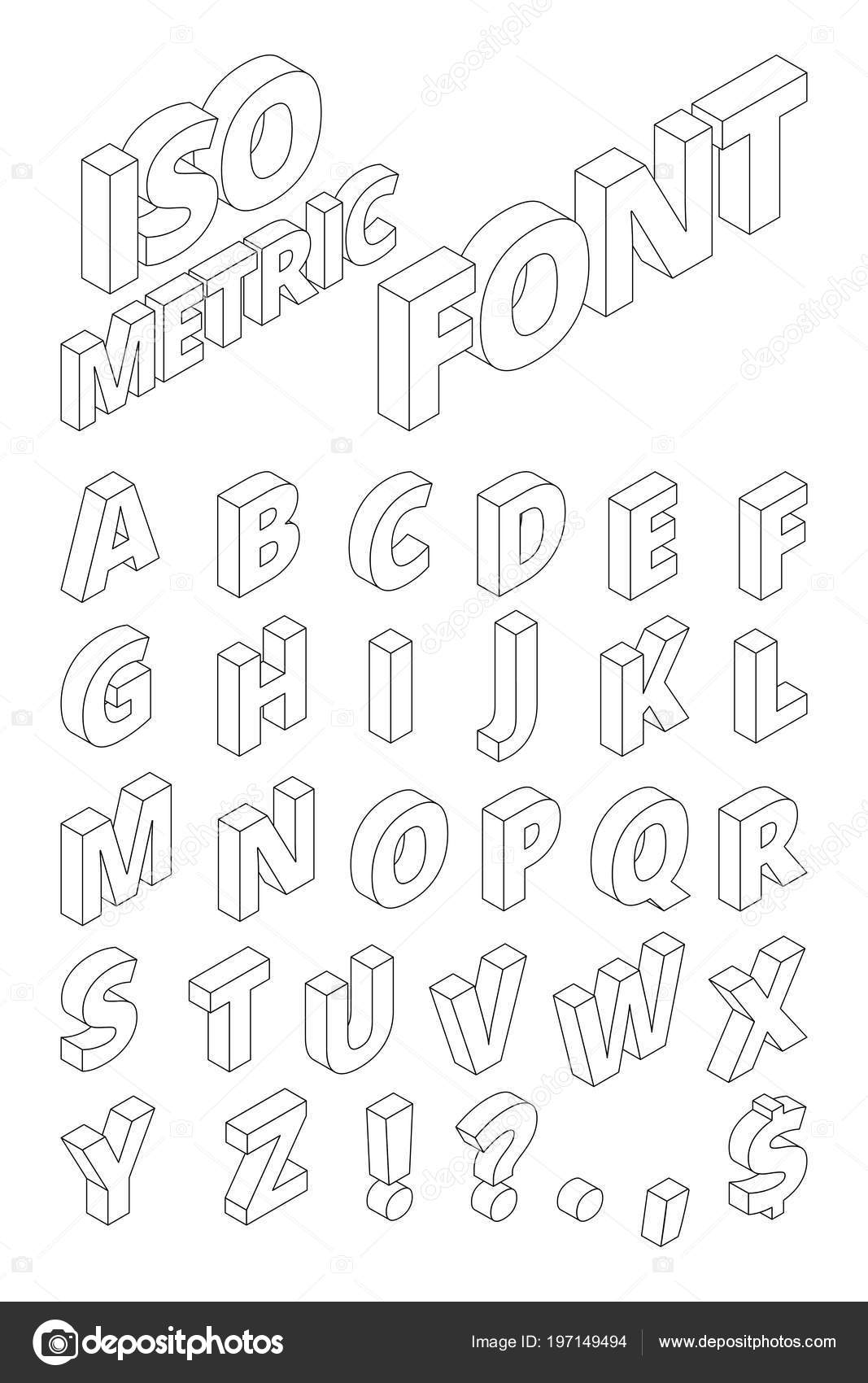 Betere Isometric english letters in linear style. Vector alphabet — Stock HS-38