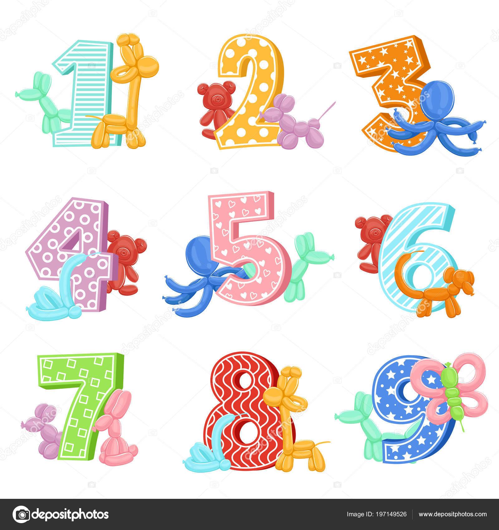 Animales Inflables Con Números De Cumpleaños Ilustraciones