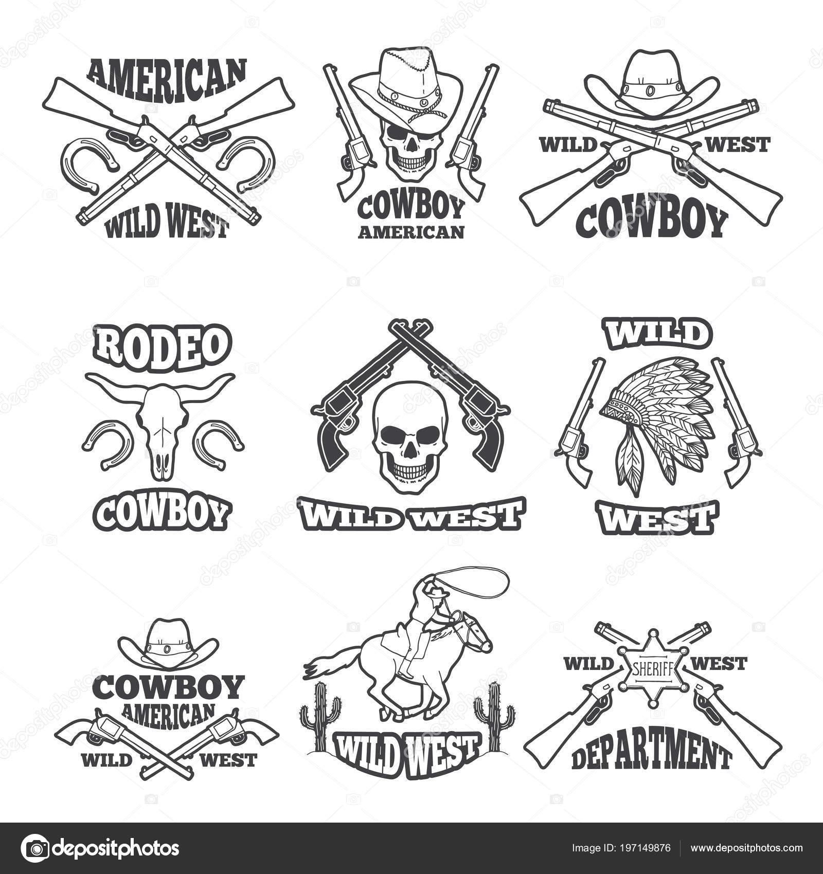 Plantilla de diseño de insignias del salvaje oeste. Occidental tema ...