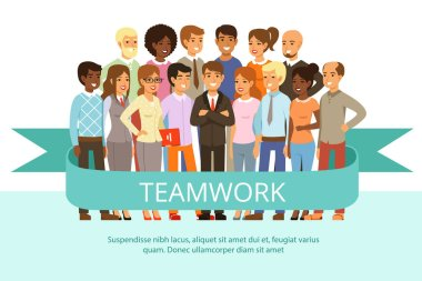 Social group on the work. Office people in casual clothes. Big corporate family. Vector characters in cartoon style