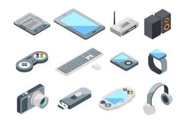Different electronic gadgets collection. Isometric technology symbols. Vector pictures set isolate