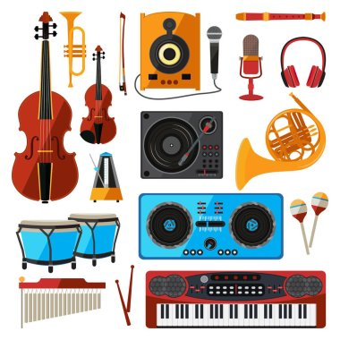 Musical instrument isolate on white. Music equipment for sound studio or shop. Guitars, digital players, bas amplifier and others