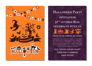 Vector halloween party invitation card template