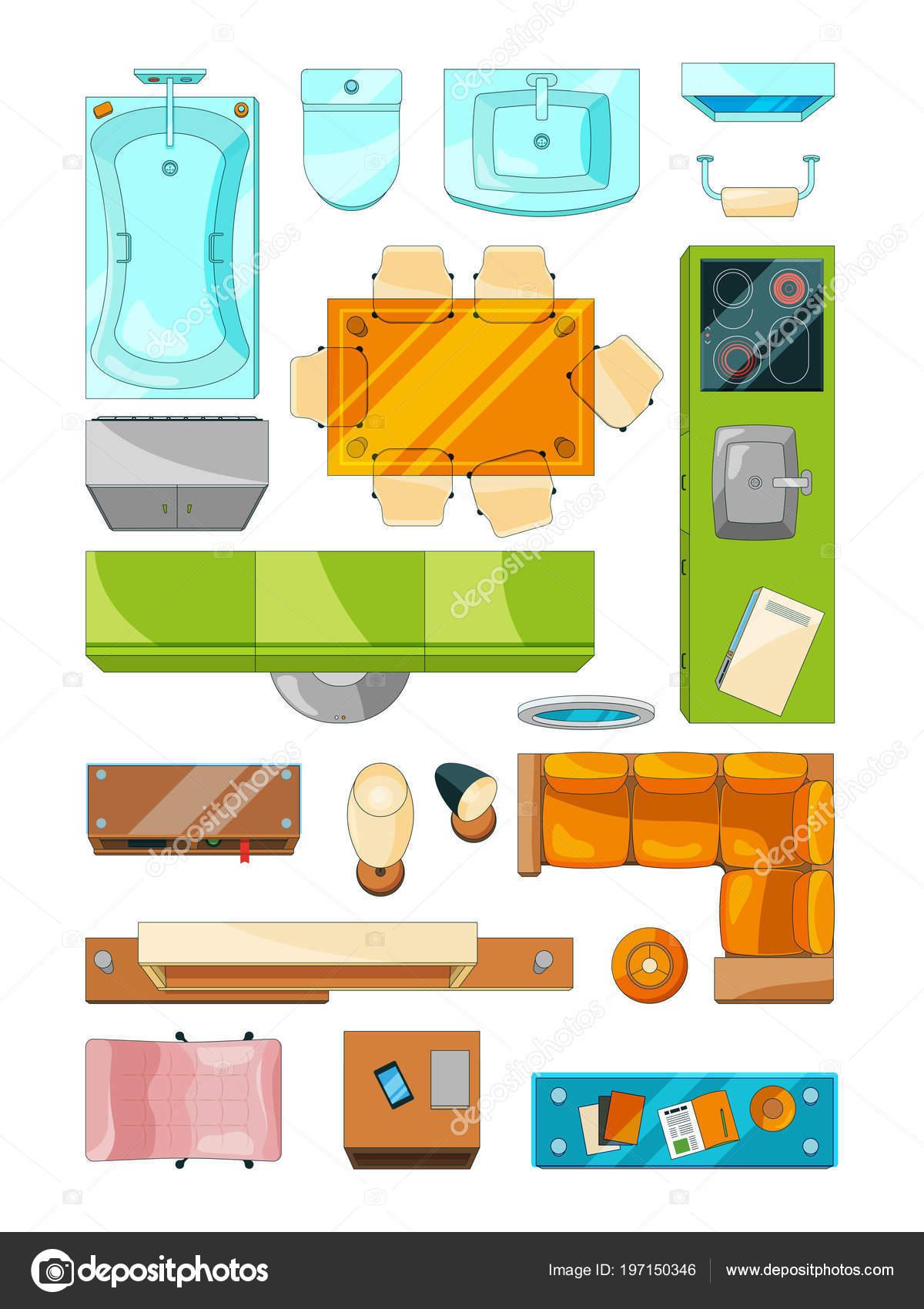 Verschiedene Möbel Für Grundriss Der Wohnung Gesetzt. Vektor Bilder  Eingestellt Draufsicht U2014 Stockvektor