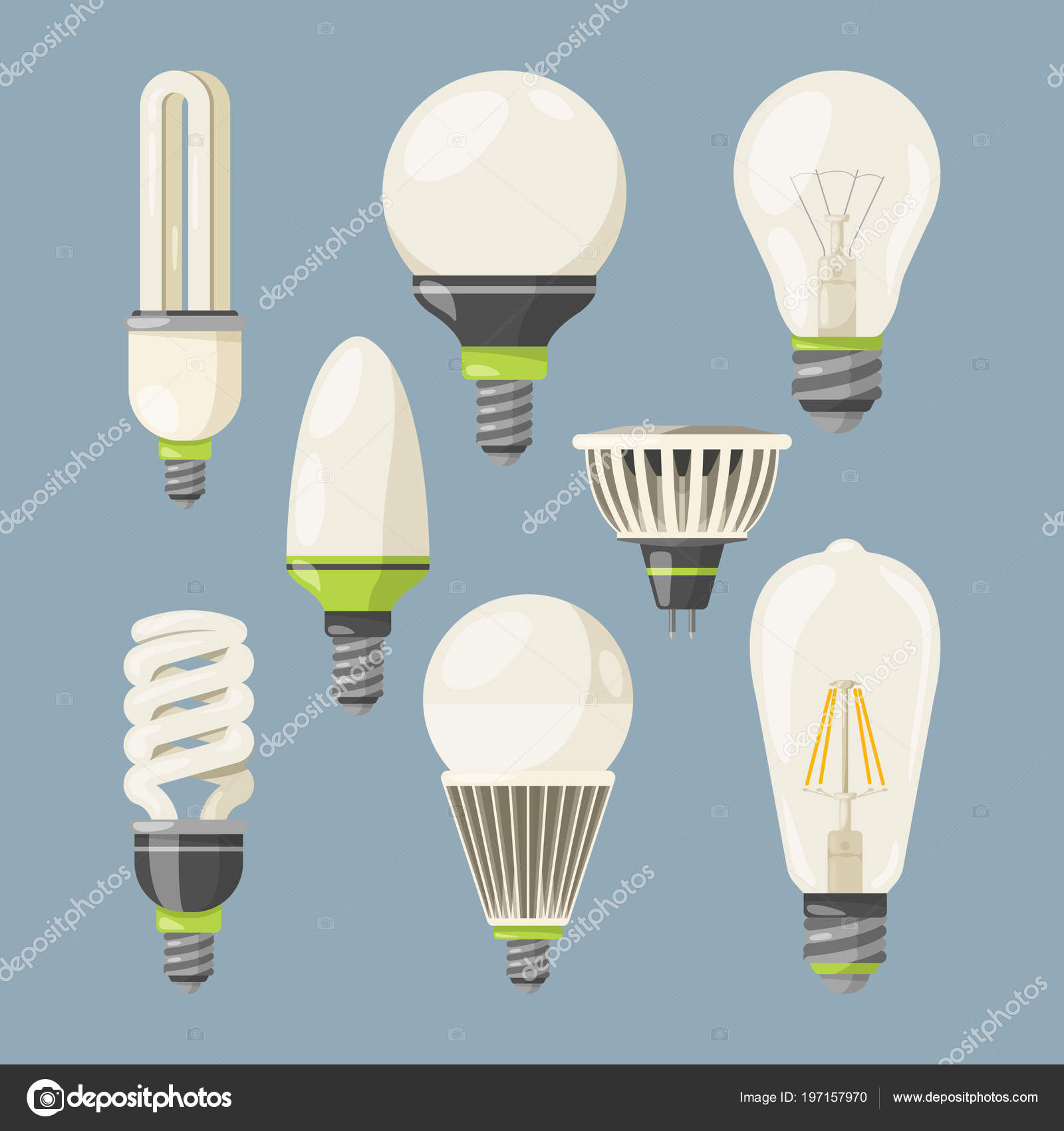 Incandescent bulbs, halogen and other different types. Vector ... for types of incandescent lamp  61obs