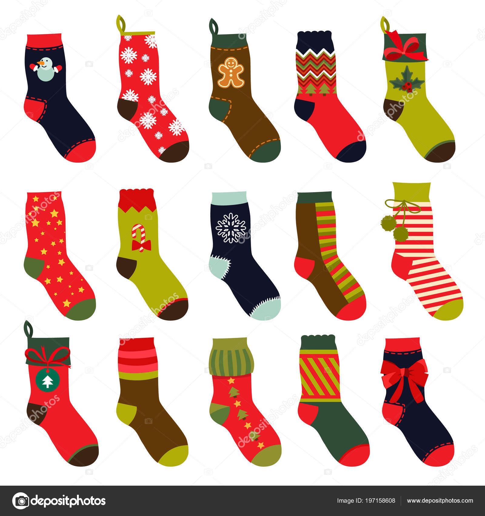 Satz von Weihnachten Socken. Vektor-Illustrationen in flachen Stil ...