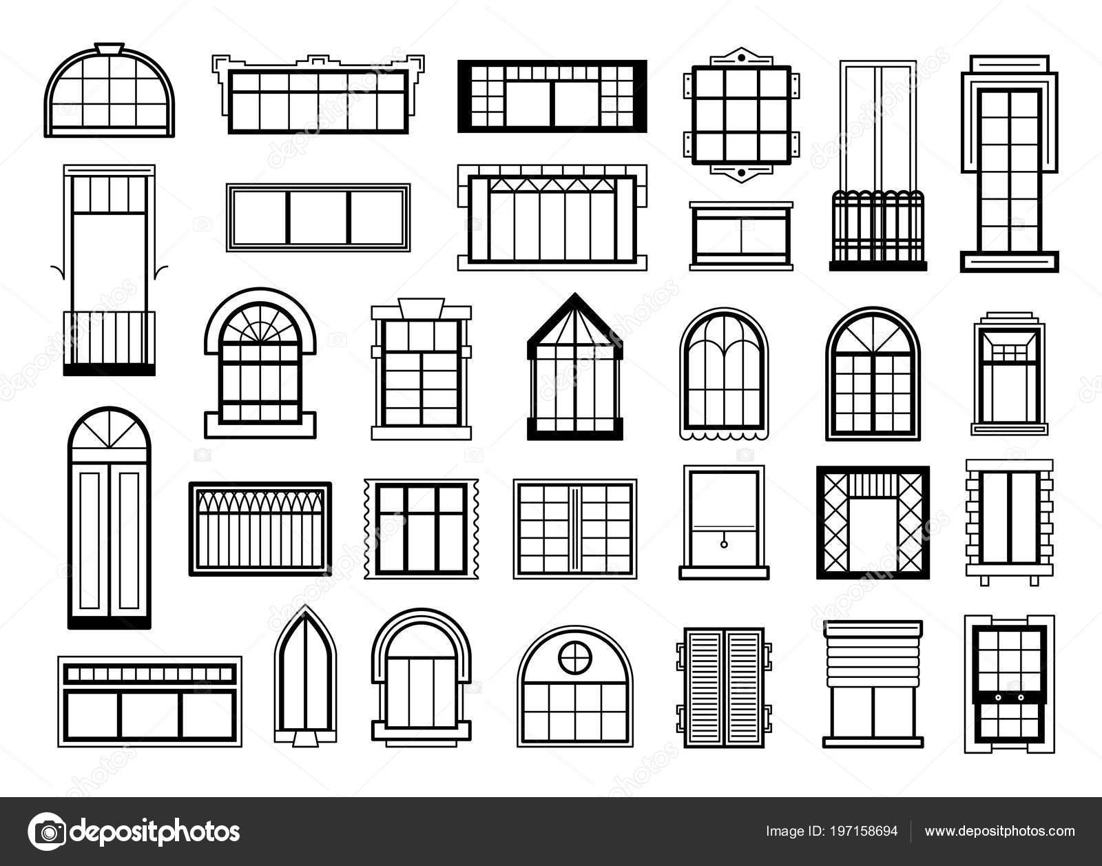 Ilustraciones de vectores con diferentes siluetas de marcos de ...