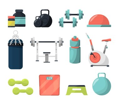 Different equipment for gym. Weight, gymnastic ball, dumbbells and other tools for powerlifting or bodybuilding