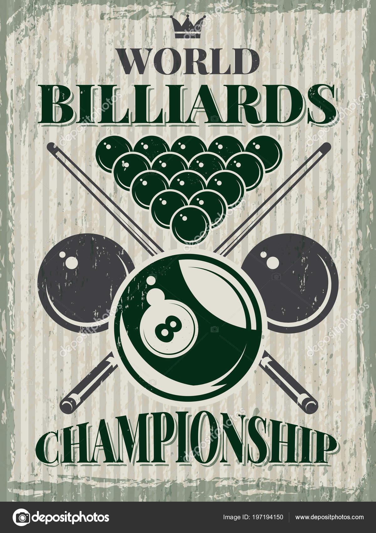 retro sport poster for billiard club vector design template with