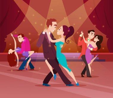 Couples on dance floor. Cartoon characters dancing. People romantic dancer tango. Vector illustration stock vector